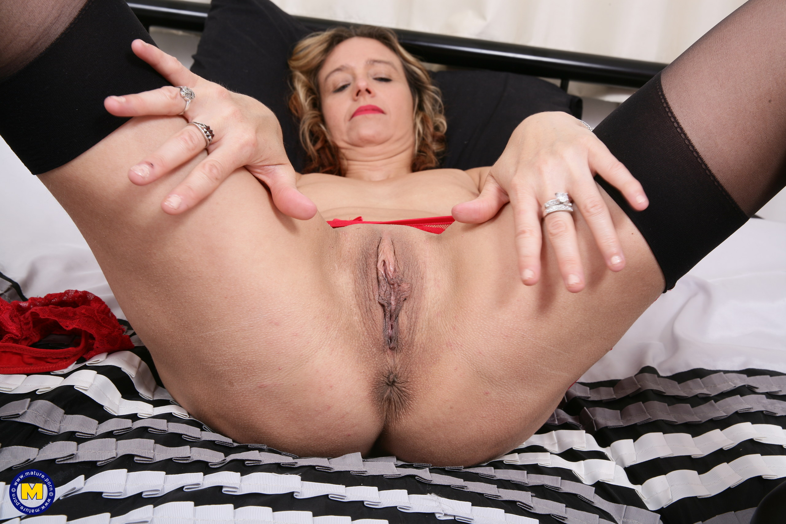 Wild hairless Brit housewife toying with herself